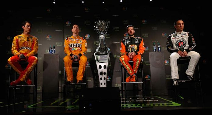 From left: Joey Logano, Kyle Busch, Martin Truex Jr., and Kevin Harvick meet the press at Championship 4 Media Day in Miami Beach.