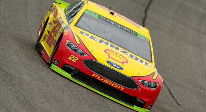 Joey Logano circles the track in Miami