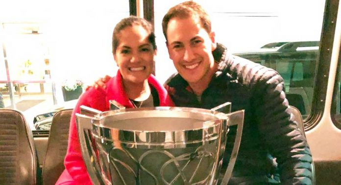 Joey Logano, wife Brittany and the Monster Energy NASCAR Cup.