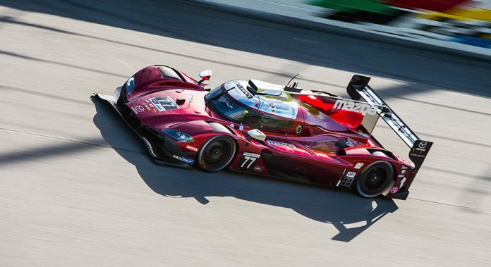 Oliver Jarvis drives the No. 77 Mazda Team Joest Mazda RT24-P at Daytona International Speedway