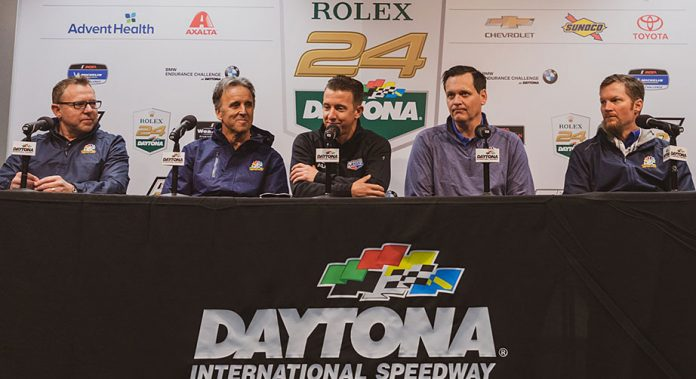 The NBC Sports broadcasting crew gets ready for the 2019 Rolex 24.