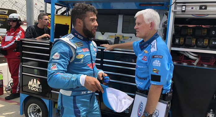 Bubba Wallace and new crew chief Derek Stamets