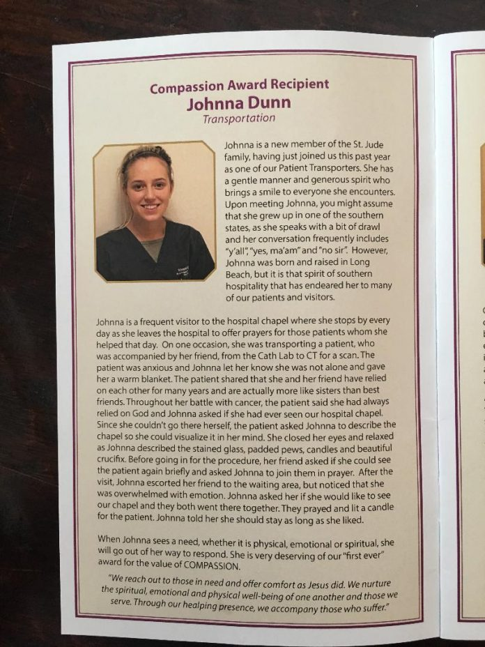 GOOD NEWS! JOHNNA DUNN RECEIVES WORKPLACE AWARD FOR COMPASSION