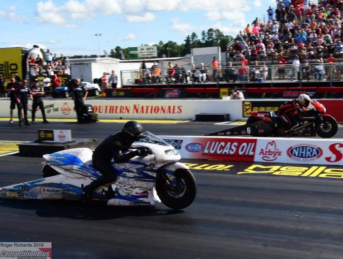 PRO STOCK MOTORCYCLE STAR ANDREW HINES KEEPS ROLLING IN ATLANTA