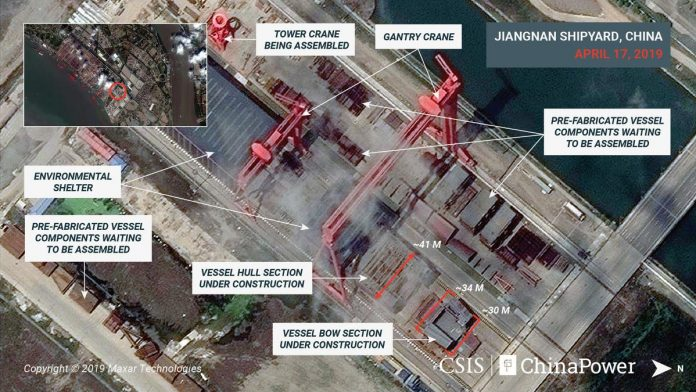 Exclusive: Images show construction on China's third - and largest - aircraft carrier
