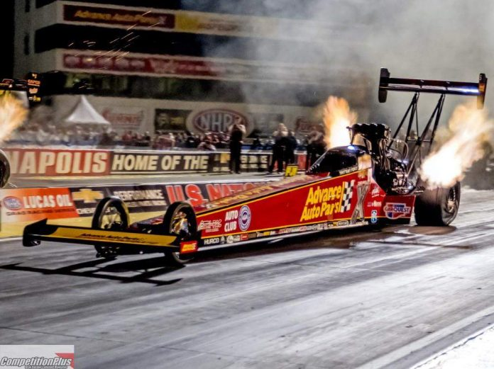 FORCE, WITHOUT BINKY, MAKES NEW INDIANAPOLIS MEMORY IN TOP FUEL