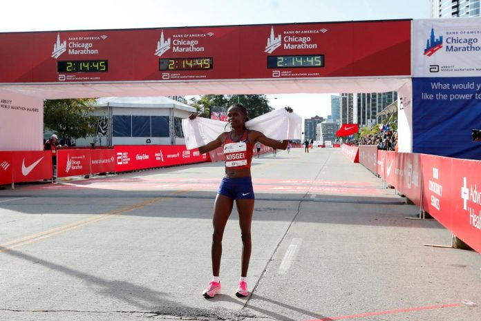 Kosgei shatters Radcliffe's world record, Cherono wins men's race