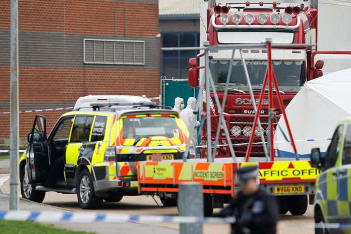 Thirty-nine bodies found in truck near London, driver arrested