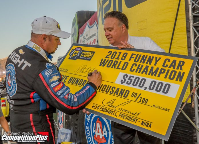 CONSISTENCY KEY AS HIGHT COLLECTS THIRD FUNNY CAR WORLD CHAMPIONSHIP