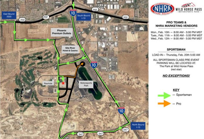 IMPORTANT PARKING INFORMATION FOR NHRA ARIZONA NATIONALS