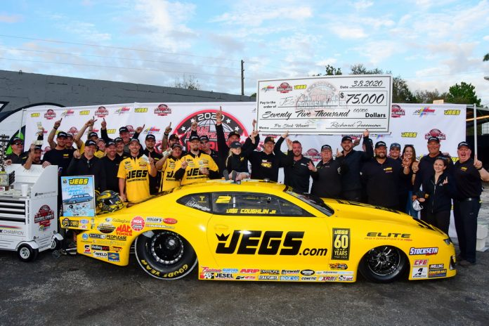 COUGHLIN JR. HOLDS OFF ANDERSON TO WIN PRO STOCK CROWN AT WORLD DOORSLAMMER NATS