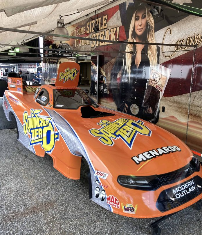 SQWINCHER HYDRATION GRAPHICS ON JIM DUNN RACING FUNNY CAR AT NHRA INDY NATIONALS