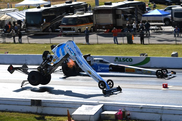 CRASHES, CARNAGE DESTROY BOTH CARS AND SCHEDULE AT NHRA MIDWEST NATIONALS