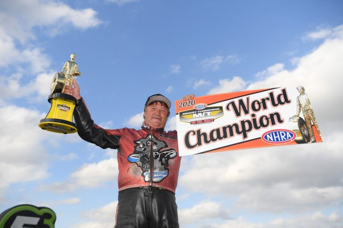 Andras Crowned NHRA Mickey Thompson Tires Top Fuel Harley Champ